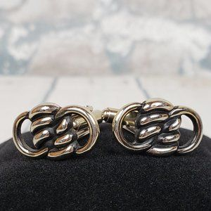 Metal Silver Tone Figure 8 Knot Cuff Links